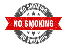 No Smoking Round Stamp With Re...