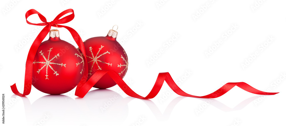 Fototapeta Two red Christmas decoration bauble with ribbon bow isolated on white background
