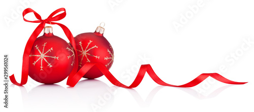 Obraz Two red Christmas decoration bauble with ribbon bow isolated on white background - fototapety do salonu