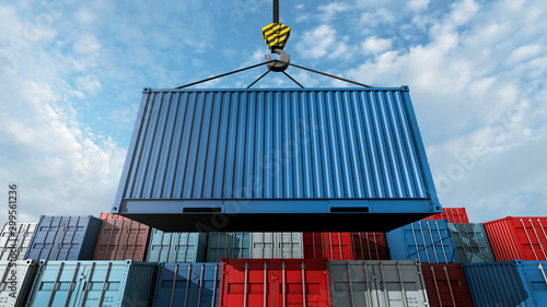 Crane hook with a cargo blue container for text Wallpaper Mural
