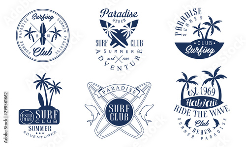 Set of logos for the surf club Canvas-taulu