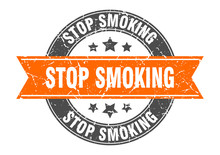 Stop Smoking Round Stamp With ...