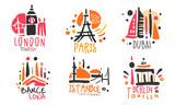 Fototapeta Fototapety z wieżą Eiffla - Set of red black logos for a travel agency. Vector illustration.