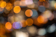 Blurred Bokah Of Colorful Lights And Happy Festival.
