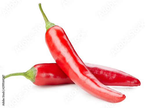 Foto op Aluminium Hot chili peppers Chili pepper isolated on a white background. Chili hot pepper clipping path