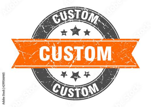 Cuadros en Lienzo  custom round stamp with orange ribbon. custom