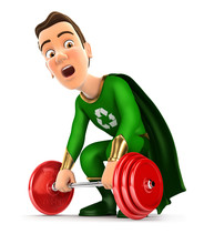 3d Green Hero Trying To Lift H...