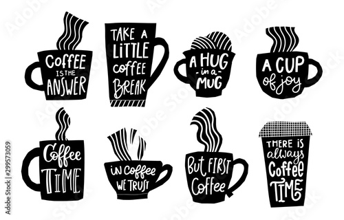 Obraz First Coffee time cup joy break quote lettering - fototapety do salonu