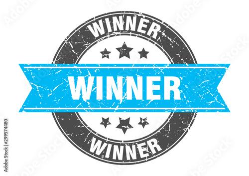 Canvastavla winner round stamp with turquoise ribbon. winner