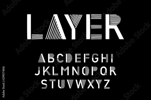 Layer hand drawn vector type font in cartoon comic style black white contrast