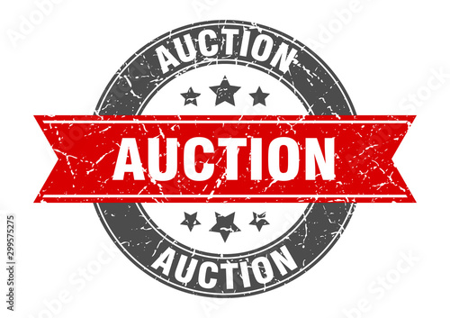 Photo auction round stamp with red ribbon. auction