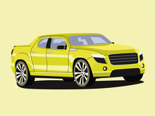 Pickup Yelow Realistic Vector Illustration Isolated