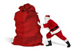 classic traditional crazy funny santa claus on exhausting delivery service. pushing huge giant big red bag with christmas gift present isolated white background