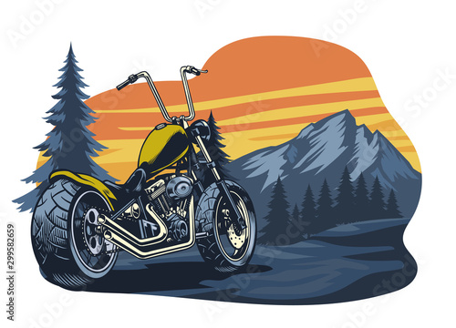Fototapeta classic chopper motorcycle at the nature