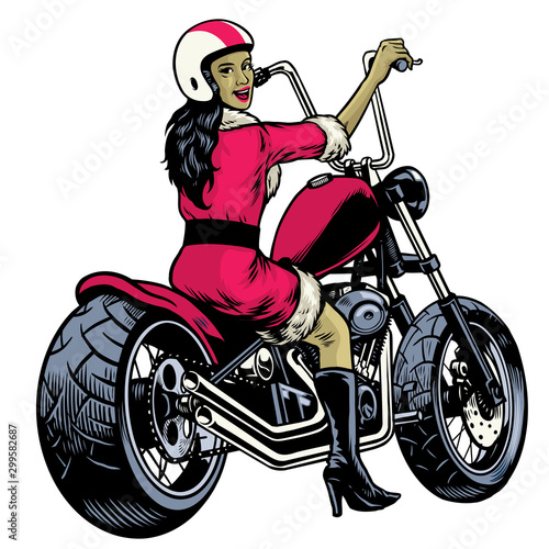 Poster de jardin Route hand drawing women dressed in santa claus costume and riding chopper motorcycle