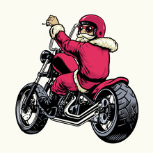 Santa Claus Riding Chopper Mot...