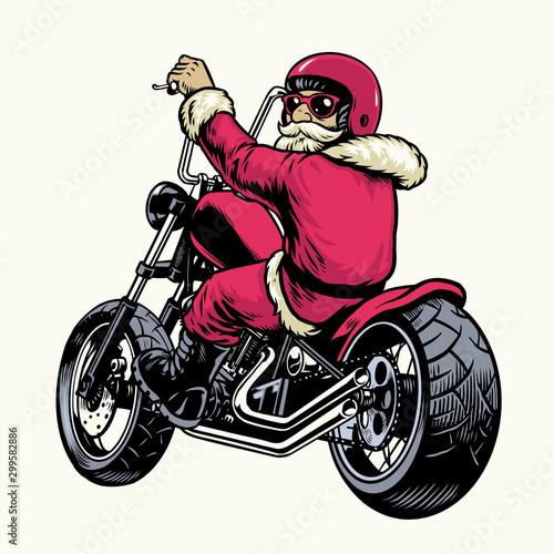 Poster de jardin Route santa claus riding chopper motorcycle