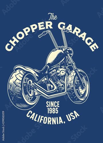 Fotografie, Tablou t-shirt design of chopper motorcycle garage