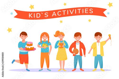 Photo Kids activities flat vector illustration