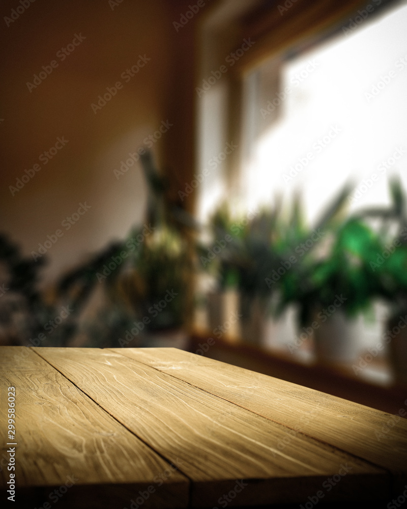 Fototapety, obrazy: Table background of free space and home interior