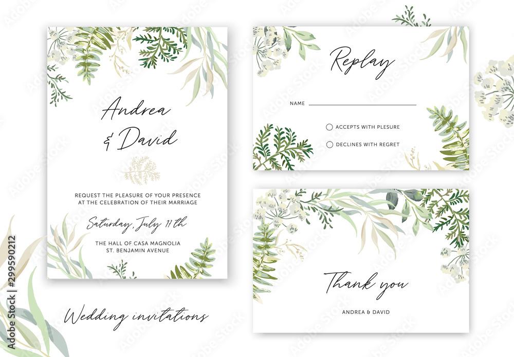 Fototapety, obrazy: Wedding cards design. Forest green leaves, fern, white background. Vector illustration. Floral arrangements. Invitation template. Summer greenery