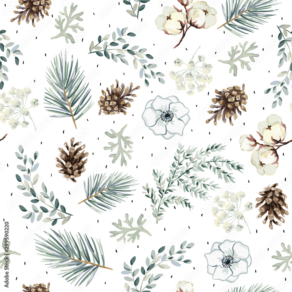 Fototapeta Christmas seamless pattern, cones, flowers, green pine twigs, white background. Vector illustration. Nature design. Season greeting. Winter Xmas holidays