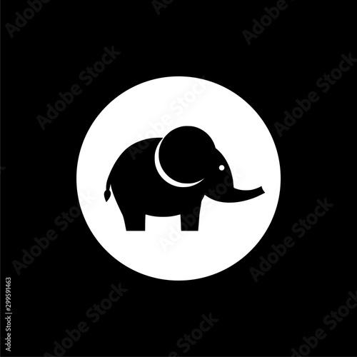 Photo Elephant icon flat illustration for graphic and web design isolated on black bac