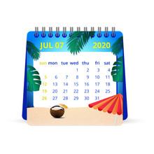 July 2020 Calendar Illustration. One Month Calendar , Week Starts Sunday