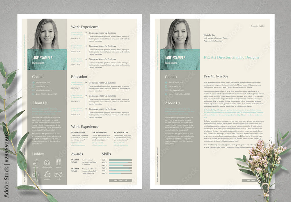 Fototapety, obrazy: Light Beige Resume and Cv Layout Set with Pale Cyan Accents
