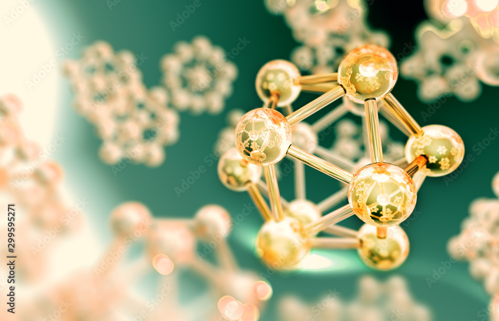Fototapeta Science background.3d rendering. Molecule or atom design, Abstract structure for Science or chemical  background