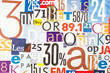 canvas print picture Collage of pieces of colorful gloss magazine paper with letters and numbers.