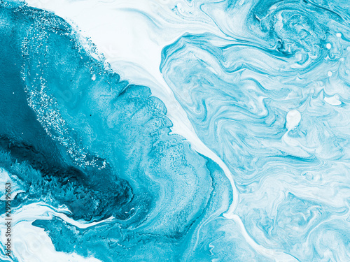 Obraz Blue with silver creative abstract hand painted background, marble texture, abstract ocean - fototapety do salonu