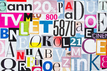 Abstract Collage Of Deifferent Pieces Magazine Paper With Letters And Numbers.