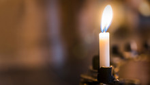 Candle In The Church, Praying With Faith, Traditional Visit Of A Holy Place For Easter, Great Christian Holiday, Belief In God Concept