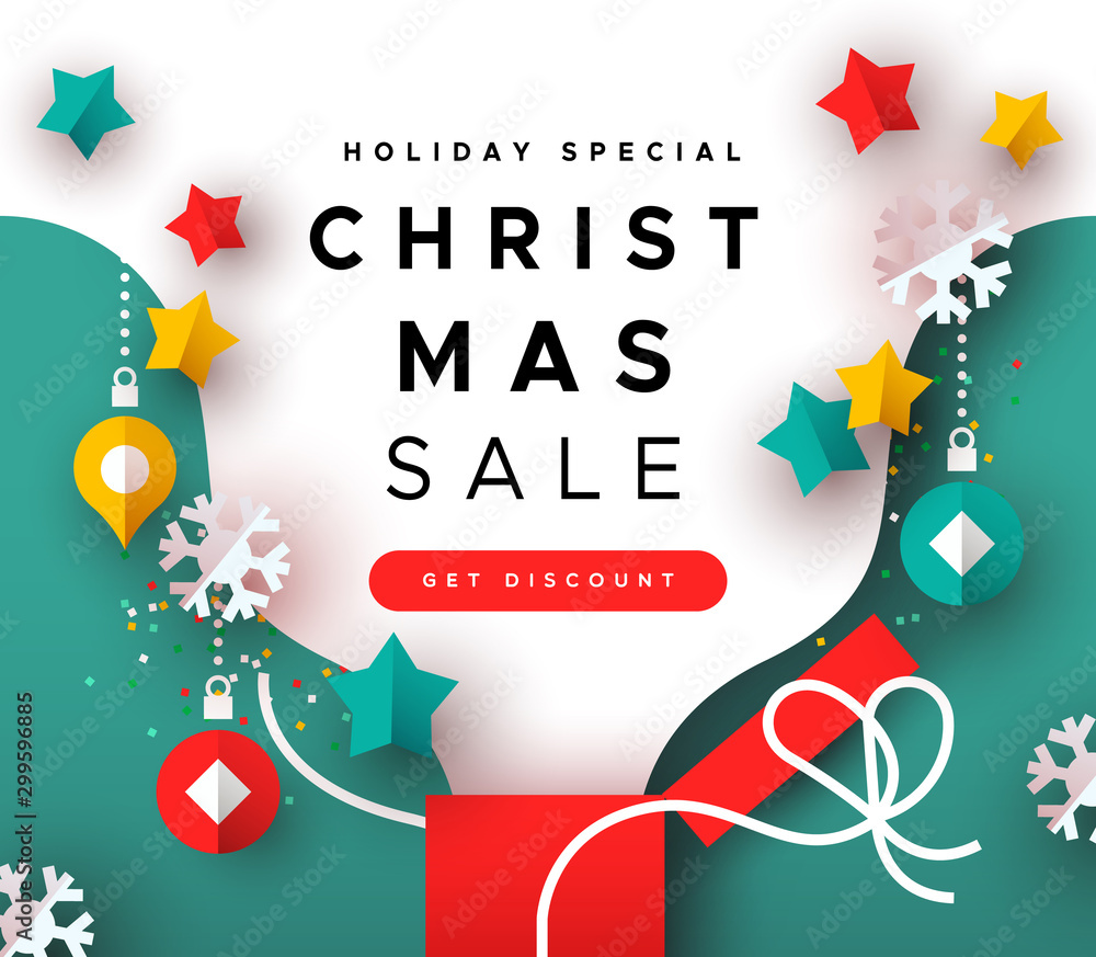 Fototapety, obrazy: Special christmas sale template papercut open gift