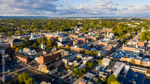 Early Morning Aerial View Over Downtown City Skyline Carlisle Pennsylvania Fototapeta