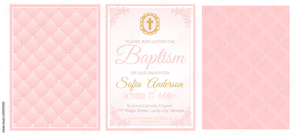 Baptism Cute Pink Invitation Template Card Set Of