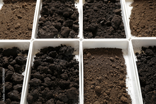 Pinturas sobre lienzo  Containers with soil samples, closeup. Laboratory research