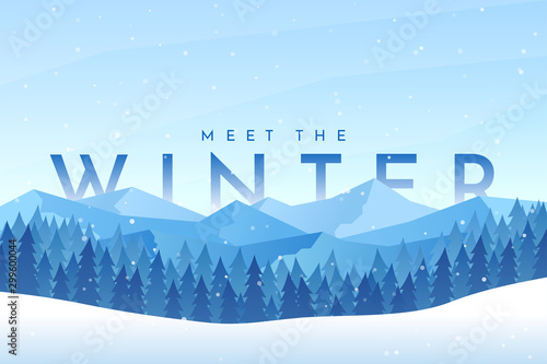 Foto auf Gartenposter Himmelblau Vector abstract flat winter landscape. Minimalistic winter scene. Website template. Cartoon design. Snowfall. Polygonal style. Banner with text behind the mountains. Clear sky with copy space