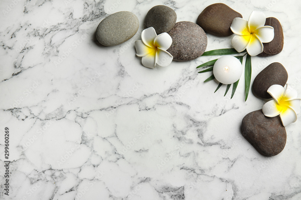 Fototapety, obrazy: Flat lay composition with stones on white marble background, space for text. Zen concept