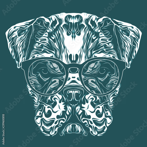 colored artistic bulldog on black background