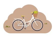 Cute Women S Retro Bike With A...