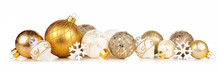 Christmas Border Of Gold And White Ornaments. Side View Isolated On A White Background.