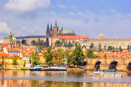 City summer landscape - view of the Hradcany historical district of Prague and c Wallpaper Mural