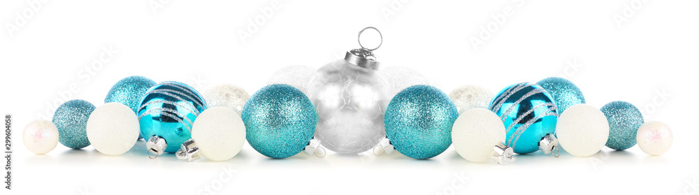 Fototapety, obrazy: Christmas border of blue and white ornaments. Side view isolated on a white background.