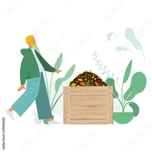Compostage, Homme faisant du compost. Concept de recyclage. Canvas Print