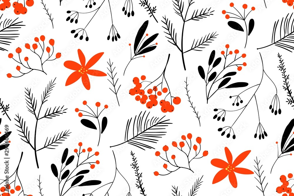 Fototapety, obrazy: Black-red winter berries. Hand drawn floral seamless vector pattern. New year seamless pattern with branches, berries and flowers. Can be used for winter holiday invitations, greeting cards, print.