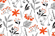 Black-red Winter Berries. Hand Drawn Floral Seamless Vector Pattern. New Year Seamless Pattern With Branches, Berries And Flowers. Can Be Used For Winter Holiday Invitations, Greeting Cards, Print.