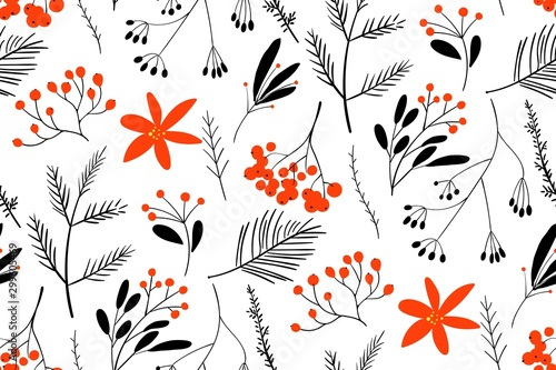 Obraz Black-red winter berries. Hand drawn floral seamless vector pattern. New year seamless pattern with branches, berries and flowers. Can be used for winter holiday invitations, greeting cards, print. - fototapety do salonu