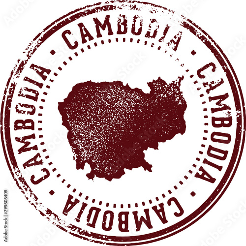 Fotomural  Vintage Cambodia Asian Country Stamp
